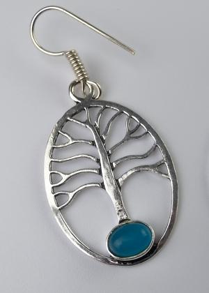 Ohrring Baum Stein Blau Türkis