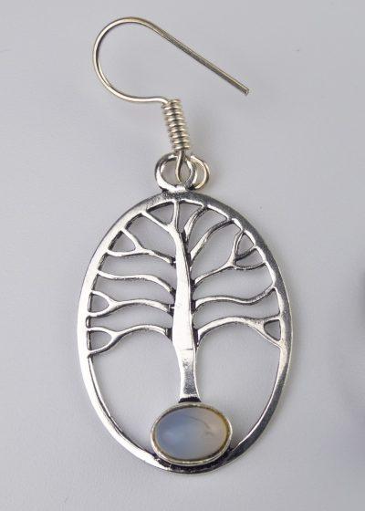 Ohrring Baum Stein Weiß