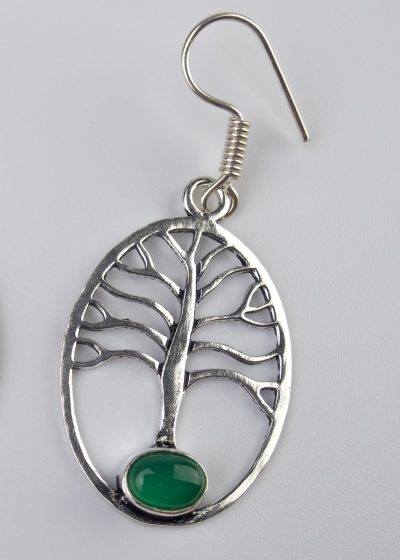 Ohrring Baum Stein Gruen