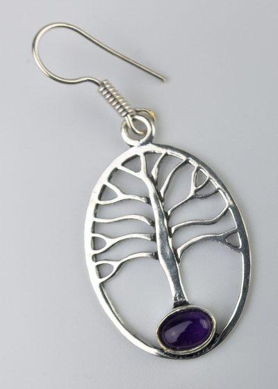 Ohrring Baum Stein Lila