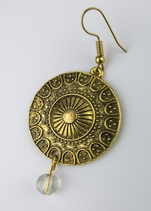 Ohrring Mandala Scheibe Perle Handgemacht