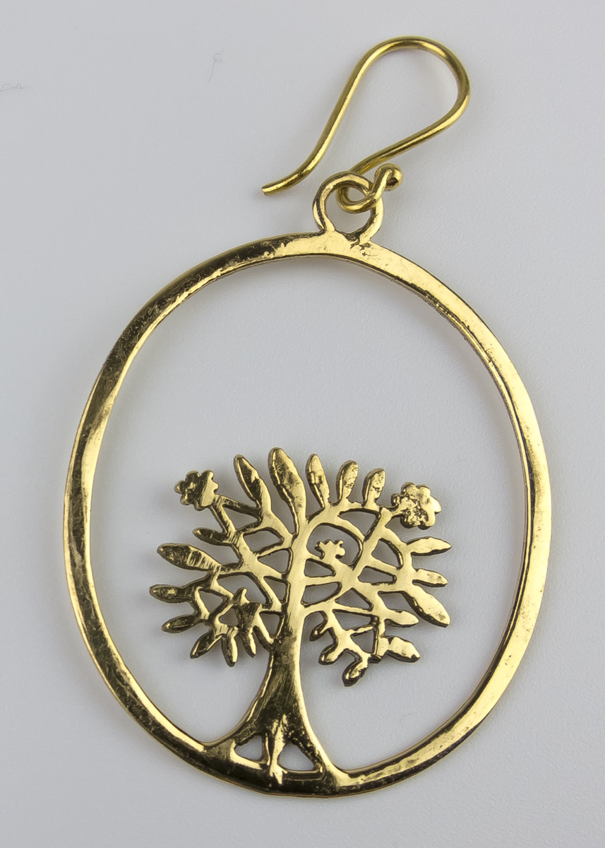 Ohrring Baum Oval Messing Indien Fairtrade