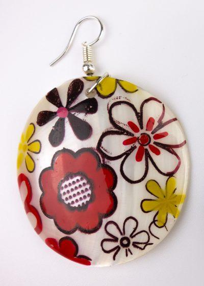 Ohrringe Perlmutt Muschel mit Blumen