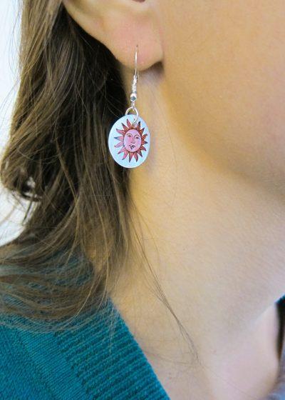 Ohrringe aus Muschel Perlmutt mit Sonne