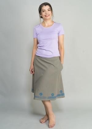 Bio T-Shirt in Violet und bedruckter Rock für Damen von green size