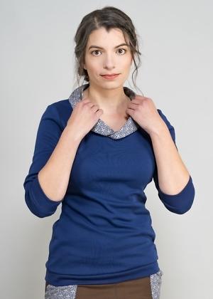 Bio-Baumwolle Pullover blau mit Kragen von green size