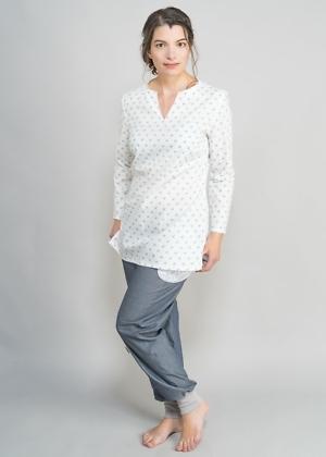 Faire Tunika Bluse muster weiß von green size
