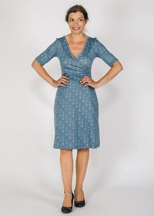 Green Size Jerseykleid Wickelkleid Biobaumwolle Blau