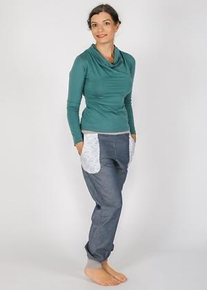 T-Shirt mit Wasserfallkragen Biobaumwolle von Roxane Porsack Green Size