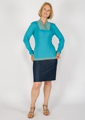 Pullover aus Deutschland blau mit Schalkragen von Green Size