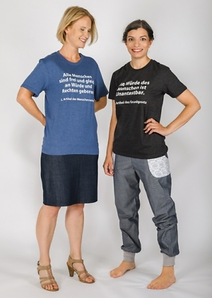 Fairtrade T-Shirt mit Grundgesetz und Menschenrechten