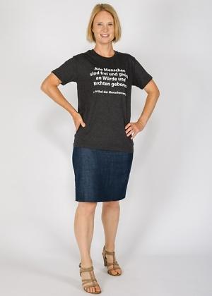 Ökotshirt Biobaumwolle bedruckt mit Menschenrechten Green Size